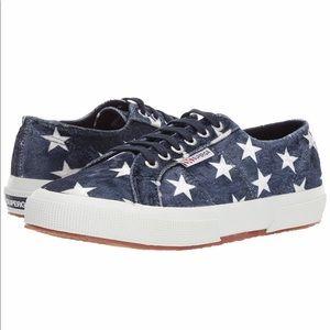 Superga blue velvet star-spangled sneakers